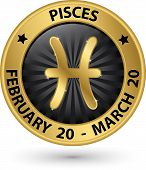 stock photo of pisces  - Pisces zodiac gold sign pisces symbol vector illustration - JPG