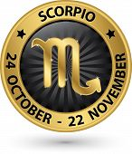 stock photo of scorpio  - Scorpio zodiac gold sign virgo symbol vector illustration - JPG