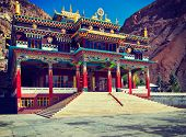 image of himachal  - Vintage retro effect filtered hipster style travel image of Buddhist monastery in Kaza - JPG