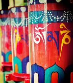 stock photo of himachal pradesh  - Vintage retro effect filtered hipster style travel image of Buddhist prayer wheels - JPG