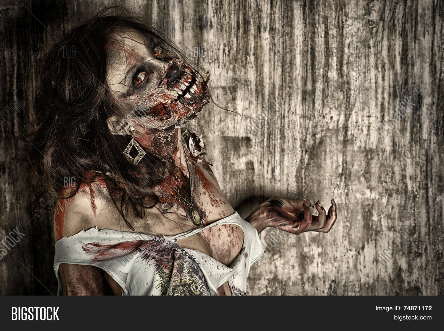 Close- Portrait Scary Bloody Zombie Image & Photo | Bigstock