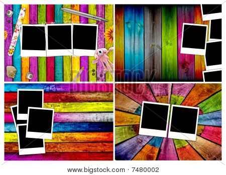 Set of Blank Photos on Wood Backgrounds