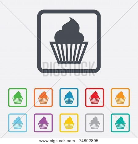 Muffin sign icon. Cupcake symbol.