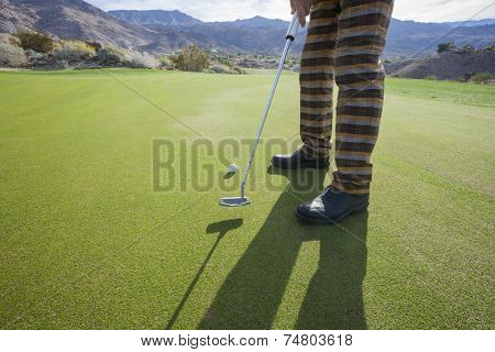 Low section of senior male golfer playing at golf course