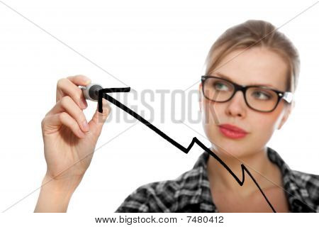 Blonde Student Girl Drawing A Diagram