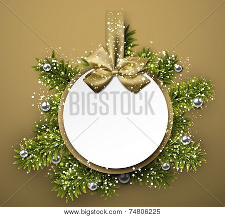 Christmas round gift card with golden ribbon and satin bow. Vector illustration.