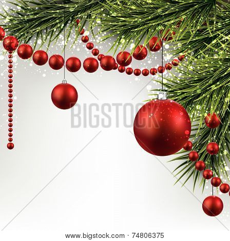 Winter abstract background with spruce twigs and red baubles. Christmas vector frame. Eps10.