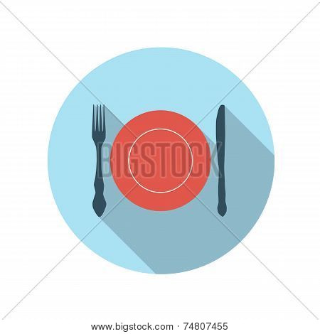 Flat Design Concept Flatware Vector Illustration With Long Shado