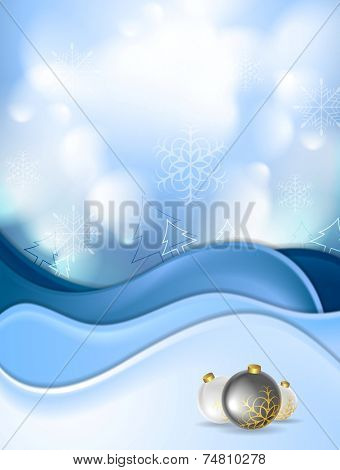 Blue snowdrift and Christmas balls. Vector background