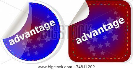 Advantage Word Stickers Set, Icon Button