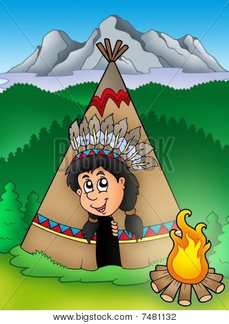 Native American Indian In Tepee