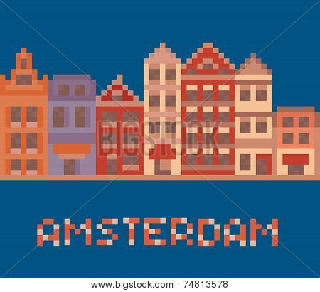 pixel art illustration shows amsterdam holland facades of old houses street