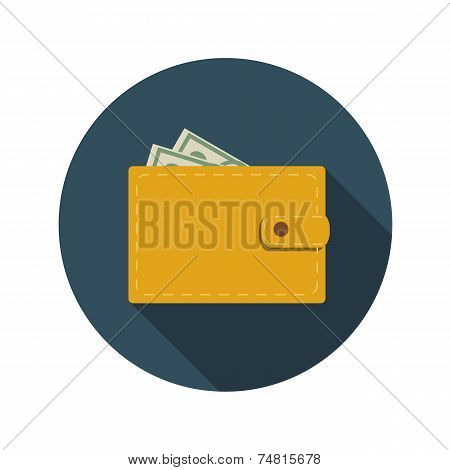 Flat Design Concept Wallet Vector Illustration With Long Shadow.