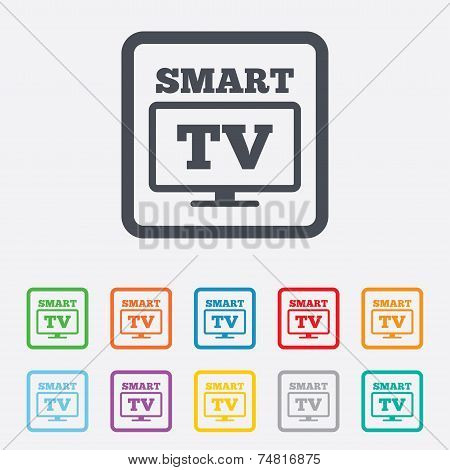 Widescreen Smart TV sign icon. Television set.