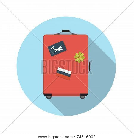 Flat Design Concept Suitcase Vector Illustration With Long Shado