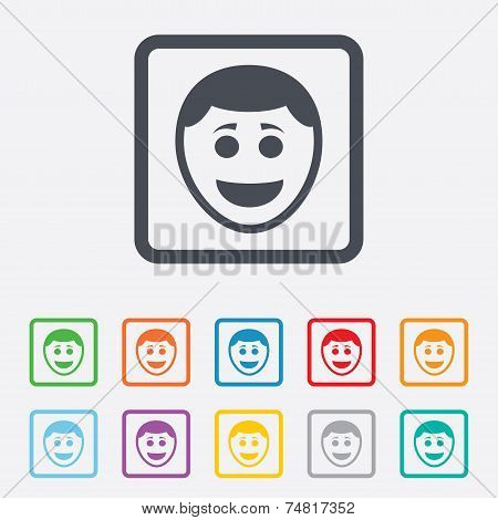 Smile face icon. Smile with hairstyle symbol.