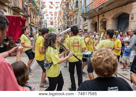 Musicians On The Street Party In Tarragona