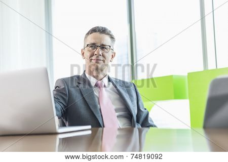 Middle-aged businessman with laptop sitting at conference table