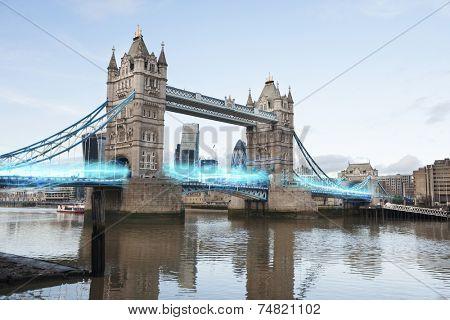 Blue streak of lights passing through London Bridge