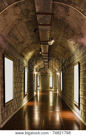 corridor of wine storage basement