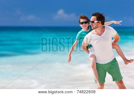 Happy father and son enjoying time at beach during family vacation