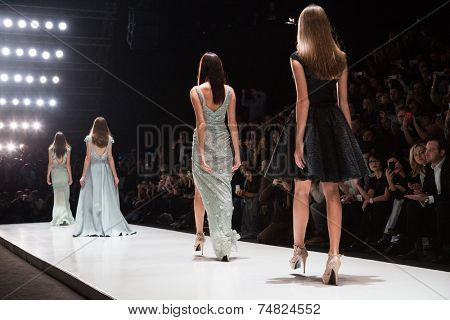 MOSCOW - OCTOBER 25: A model displays a creation by designer Tony Ward during Mercedes-Benz Fashion Week Russia on October 25, 2014 in Moscow, Russia.