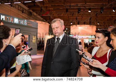 MOSCOW - OCTOBER 15: Minister of Culture of Moscow Sergey Kapkov during First Moscow International Forum on October 15, 2014 in Moscow, Russia.