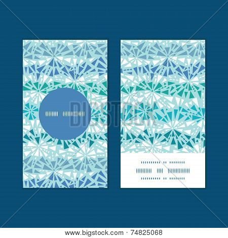 Vector abstract ice chrystals texture vertical round frame pattern business cards set