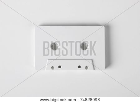 Blank audio cassette on white background