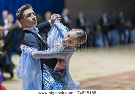 Minsk-belarus, October 19, 2014: Unidentified Dance Couple Performs Youth-1 Standard European Progra
