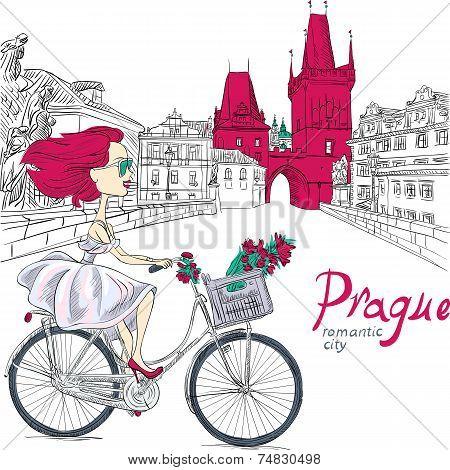 Vector Cute Girl On The Bike In Prague