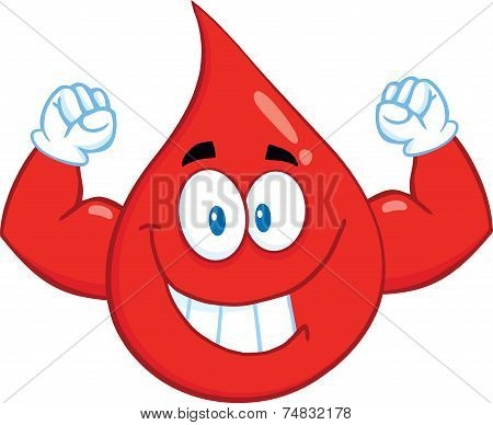 Smiling Red Blood Drop Cartoon Mascot Character Showing Muscle Arms