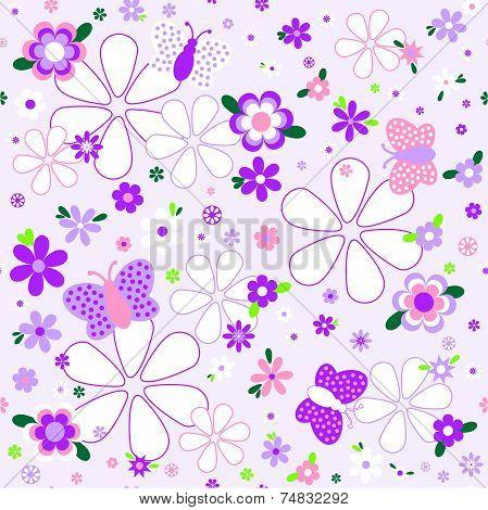 Seamless Floral Pattern In Violet Tones
