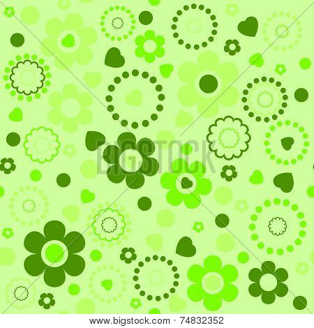 Seamless Floral Pattern In Green Tones
