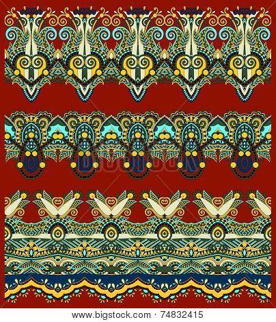 seamless ethnic floral paisley stripe pattern, border set,