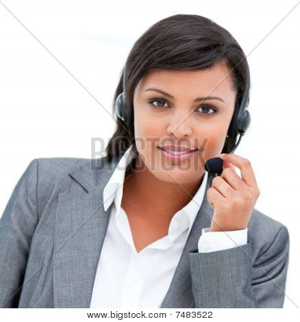 Portrait Of An Ethnic Customer Agent At Work