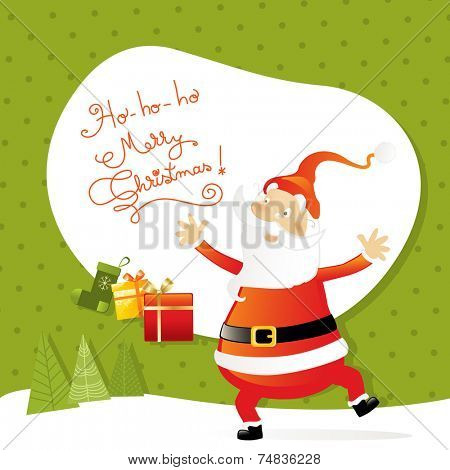 Vector merry christmas greeting card, santa claus