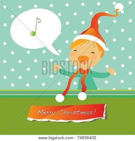 Vector merry christmas greeting card, singing girl.