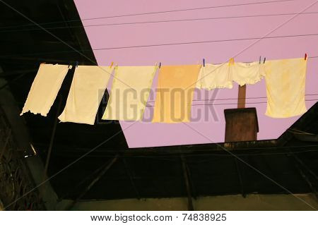 Laundry Drying On Washing Line