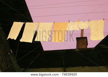 Laundry Drying On Washing Line