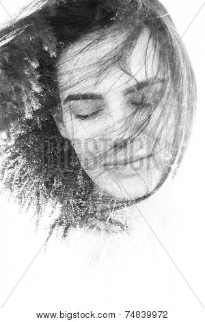 Creative double exposure portrait in monochrome