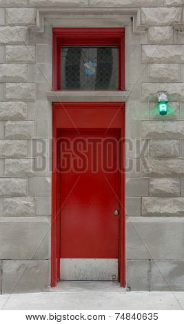 Red Fire Station Door