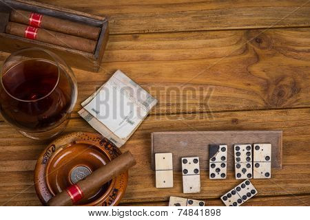 Cuban Cigars Rum And Domino On Table