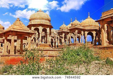 The royal cenotaphs in Jaisalmer,India