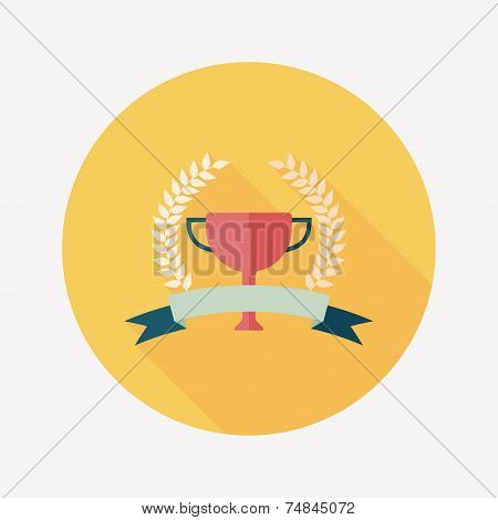 Trophy Cup And Laurel Flat Icon With Long Shadow,eps10