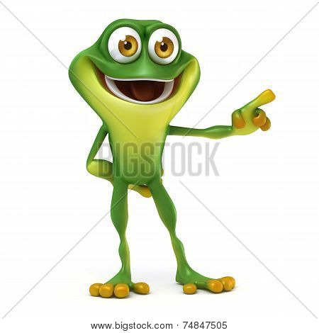 Frog with direction sign
