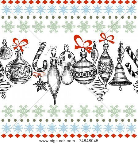 Christmas background, decorations seamless pattern