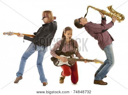 Duo woman guitar saxophone and man with saxophone and saxophone on a white background
