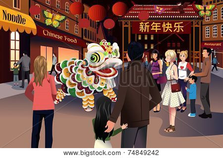 People Celebrating Chinese New Year