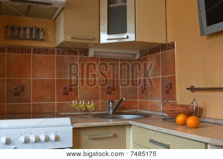 Interior of small kitchen